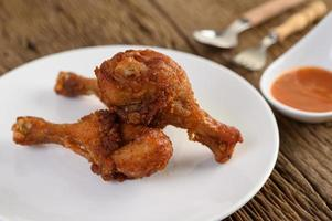 Fried chicken on a white plate photo