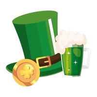 top hat leprechaun with beer jar and coin vector