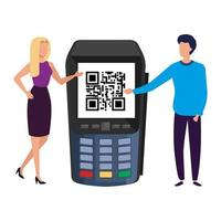 businesss couple and dataphone with scan code qr vector