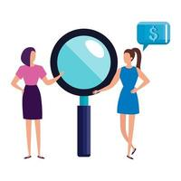 business women with magnifying glass