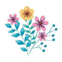 lindas flores con ramas y hojas vector