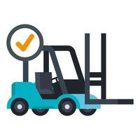 Isolated delivery forklift and check mark vector design