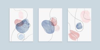 Diseño de cubiertas a mano alzada con formas de trazo de pincel de acuarela de dibujo a mano vector