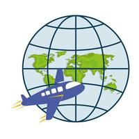 airplane and world map sphere vector design