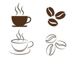 iconos de elementos de café vector
