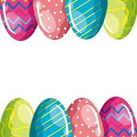 frame of cute eggs easter decorated vector