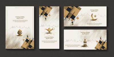 set of islamic greetings ramadan kareem card design template vector