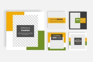 Delicious food social media post template banner vector