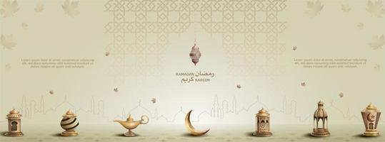 islamic greeting eid mubarak card design with beautiful gold lanterns and crescent moon vector