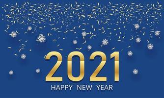 Happy new year golden metal numbers, vector design.