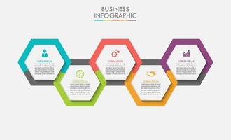 Hexagon shape modern business infographic template vector