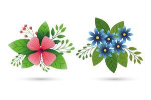 lindas flores con ramas y hojas