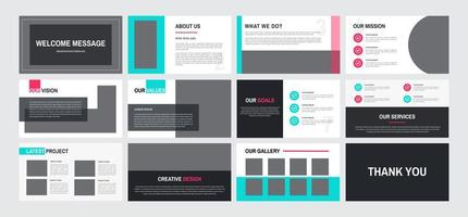 12 Page furniture design presentation template vector