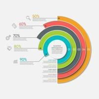 Circle Graph infographic Tmplate With 5 Options. vector