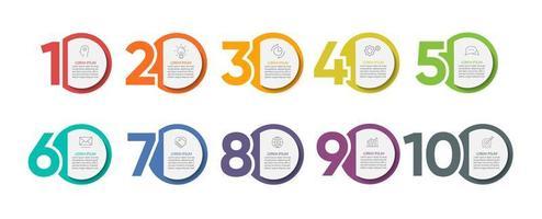 iconos de infografías con 10 opciones vector