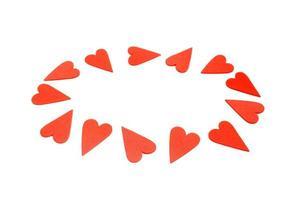 corazones rojos sobre fondo blanco foto