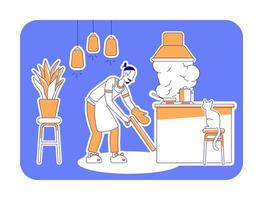 Hombre cocinero en casa silueta plana ilustración vectorial vector