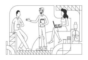 Company employees at coffee break thin line vector illustration