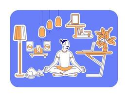 Man learn yoga flat silhouette vector illustration