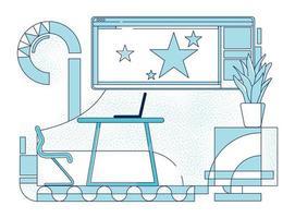 Ilustración de vector de contorno de lugar de trabajo de líder de equipo de empresa