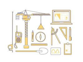 Construction items yellow linear objects set vector