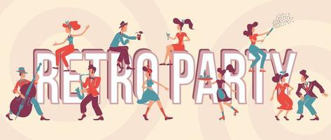 Retro party word concepts flat vector banner