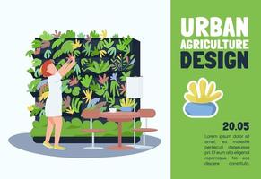 Urban agriculture design banner flat vector template