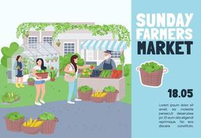 Sunday farmers market banner flat vector template