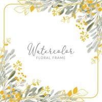 watercolor gold leaf bouquet square frame vector