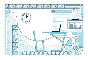 Modern office room interior outline vector illustration