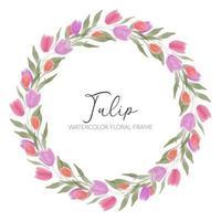 marco de guirnalda de flores de tulipán acuarela vector
