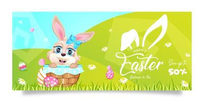 Happy Easter 50 percent sales banner flat vector template