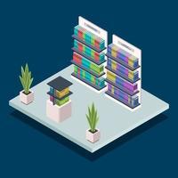 Ilustración de vector de color isométrico de estantería de biblioteca moderna