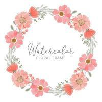 floral arrangement bouquet in peach watercolor wreath vector