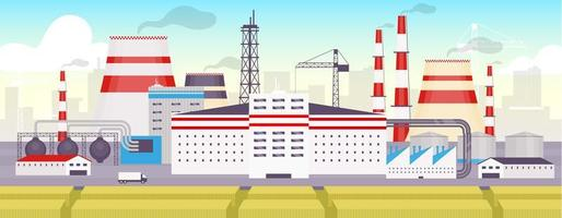 Industrial park flat color vector illustration
