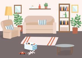 Ilustración de vector de color plano de sala de estar familiar