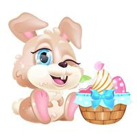 Cute winking Easter hare kawaii cartoon vector character