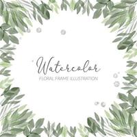 watercolor floral frame illustration with foliage leaf vector