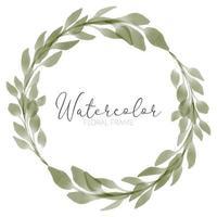 watercolor green leaf wreath illustration vector