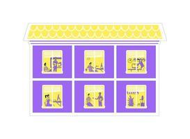 Ilustración de vector de color plano de edificio de oficinas