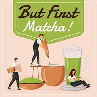 But first matcha social media post mockup vector
