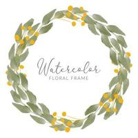 watercolor leaf bouquet with golden leaves wreath vector