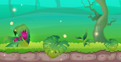 Jungle flat color vector illustration