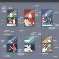 Smart apartment floors flat color vector illustration
