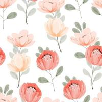 watercolor beautiful peony floral seamless pattern vector