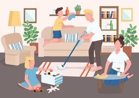 padres e hijos limpiando ilustración de vector de color plano