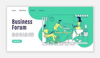plantilla de vector de silueta plana de página de destino de foro de negocios