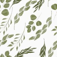 watercolor green leaf seamless pattern vector