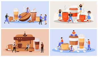 Coffee culture flat concept vector illustration set