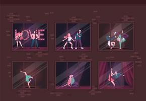 Dancing studio flat color vector illustration